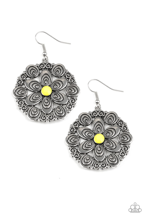 Grove Groove Yellow Earring - Paparazzi Accessories