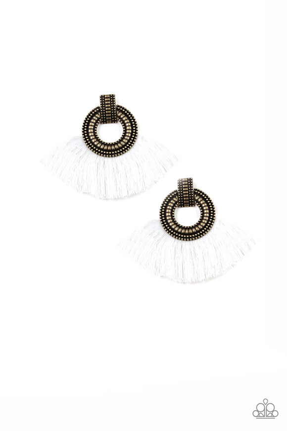 I Am Spartacus Brass/White Tassel Earring - Paparazzi Accessories