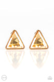Timeless In Triangles Gold Clip-On Earring - Paparazzi Accessories