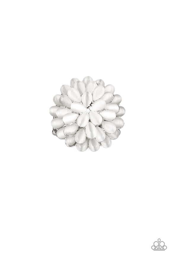 Bloomin Bloomer White Cat's Eye Ring - Paparazzi Accessories