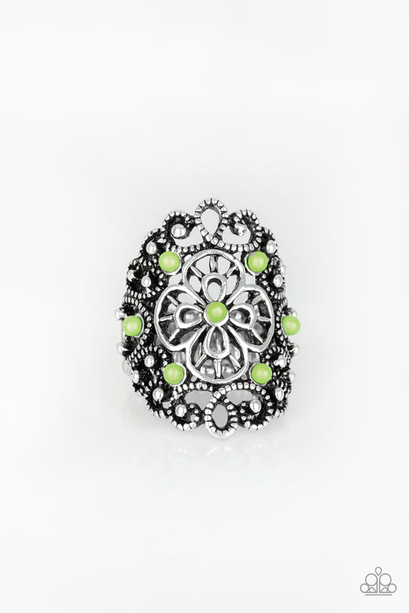 Floral Fancies Green Ring - Paparazzi Accessories