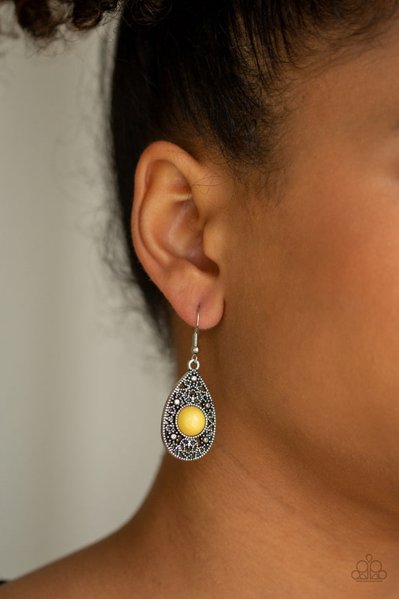 From POP To Bottom Yellow Earring - Paparazzi Accessories