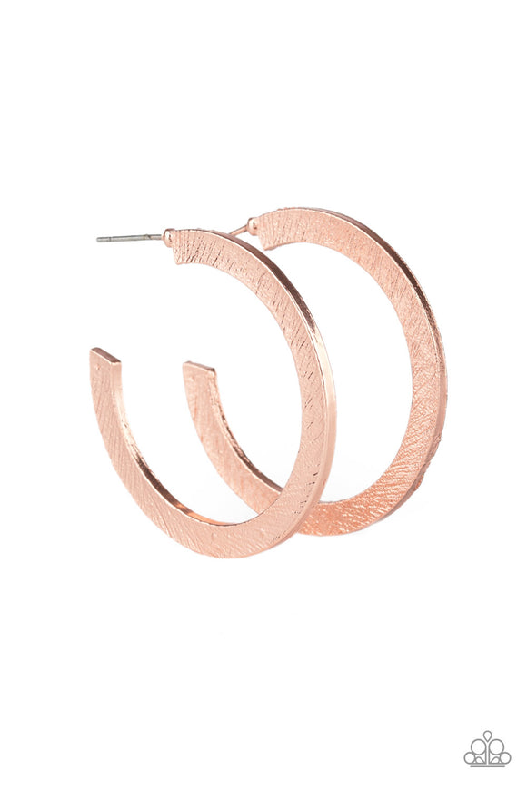 HAUTE Glam Copper Hoop Earring - Paparazzi Accessories