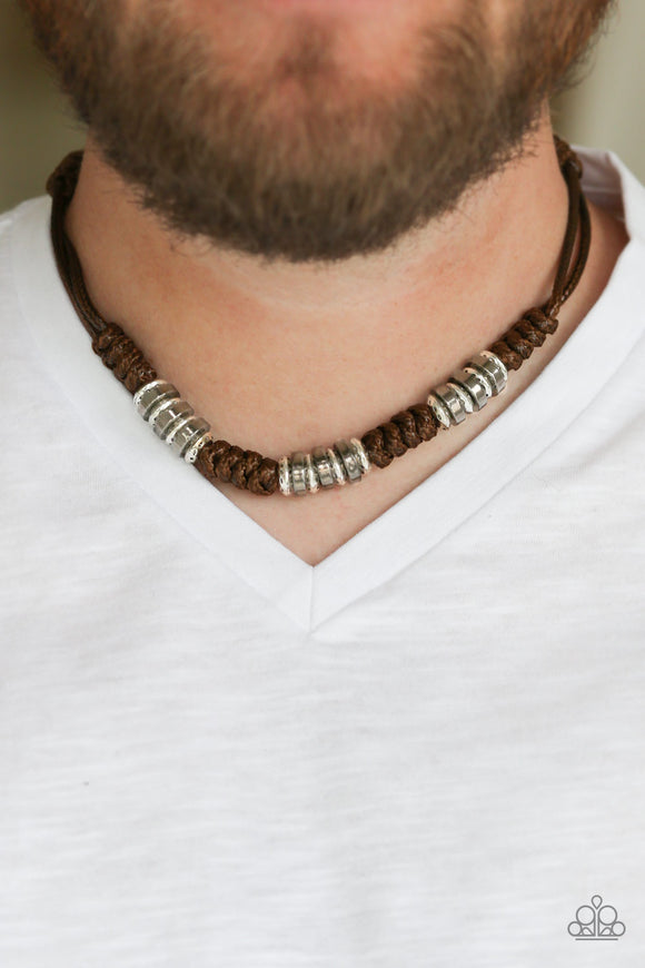 Lets Take A Ride Brown Urban Necklace - Paparazzi Accessories