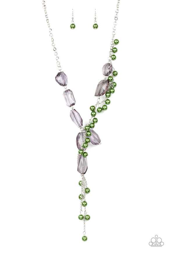 Prismatic Princess Green Necklace - Paparazzi Accessories - jazzy-jewels-gems
