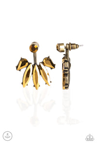 Stunningly Striking Brass Jacket Earring - Paparazzi Accessories