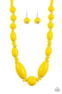 Summer Breezin Yellow Wooden Necklace - Paparazzi Accessories - jazzy-jewels-gems