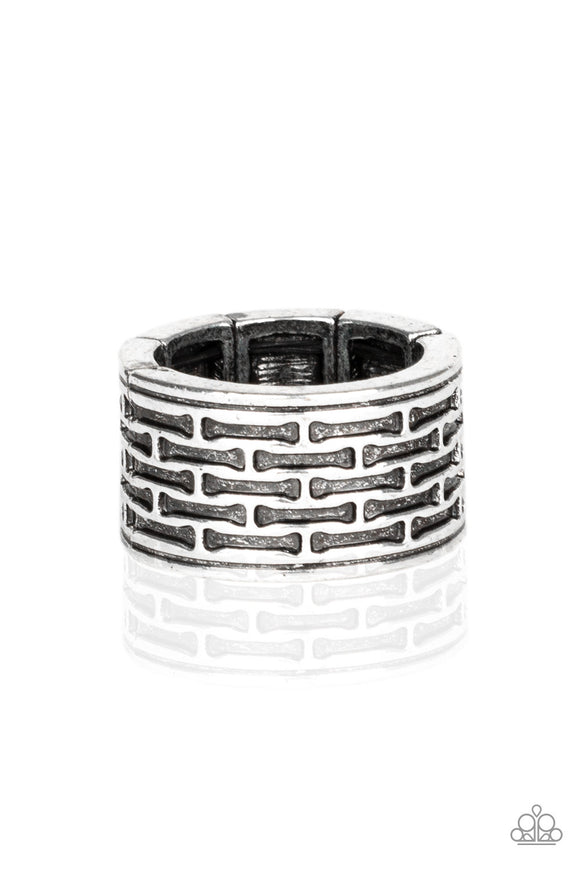 Tactical Gear Silver Urban Ring - Paparazzi Accessories