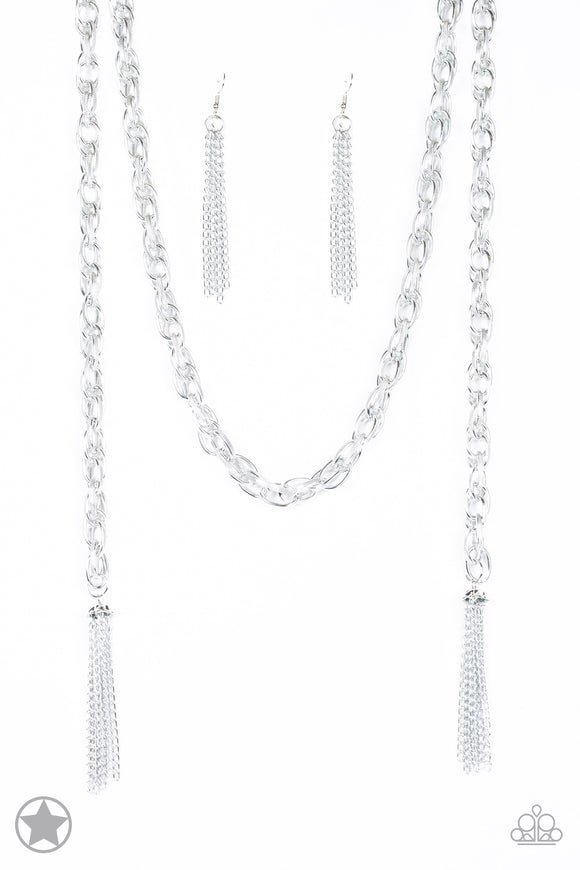 SCARFed for Attention Silver Blockbuster Necklace - Paparazzi Accessories - jazzy-jewels-gems