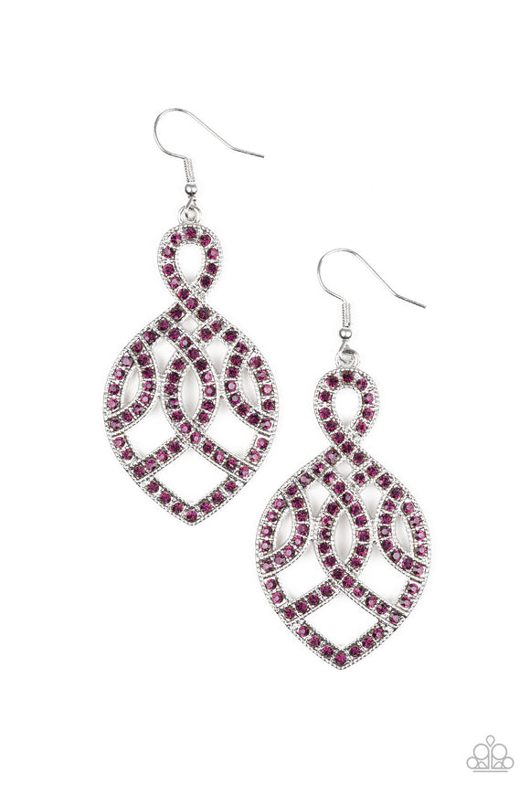 A Grand Statement Purple Earring - Paparazzi Accessories