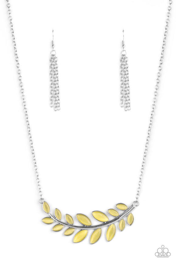 Frosted Foliage Yellow Necklace - Paparazzi Accessories