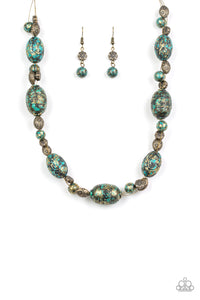 Gatherer Glamour Brass Necklace - Paparazzi Accessories