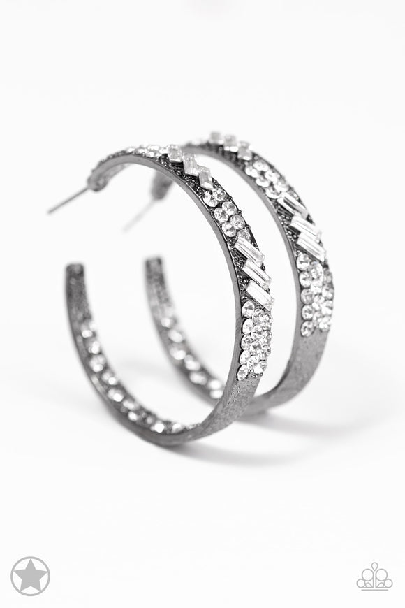 GLITZY By Association Gunmetal Blockbuster Hoop Earring - Paparazzi Accessories - jazzy-jewels-gems