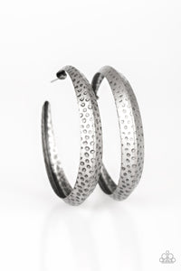 Jungle To Jungle Silver Hoop Earring - Paparazzi Accessories