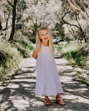 Girls Florence White Linen Maxi dress