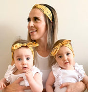 MATCHING Mums and Girls Mustard Floral Stretch Headband