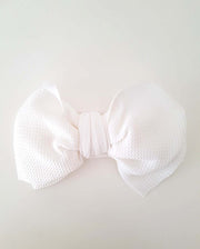 Girls White Oversized Bow Headband (Stretched Headwrap) (NB-4Yrs)