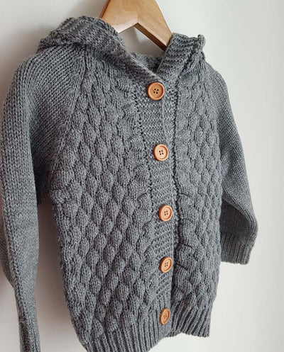Unisex-BeBe Knit Hooded ฺBaby Cardigan -Grey