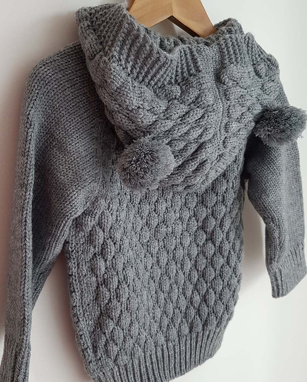 BeBe Knit Hooded ฺBaby Girl Cardigan -Grey. Buy 1 GET 1 for 50%