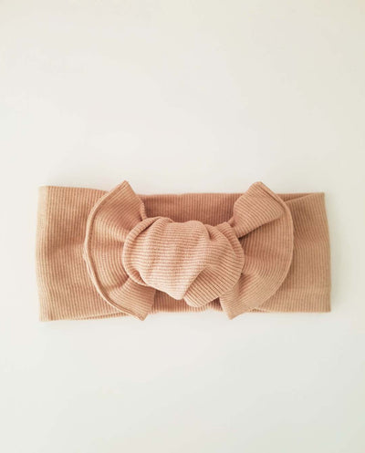 Girls Khaki Soft Rib Knit Topknot Headband (Stretched Headwrap) (NB-5 Yrs)