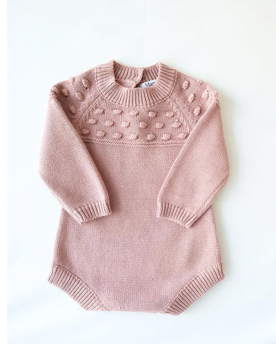Rose Pink Knitted Baby Girl Romper 100% Cotton (Size Guide in image section)
