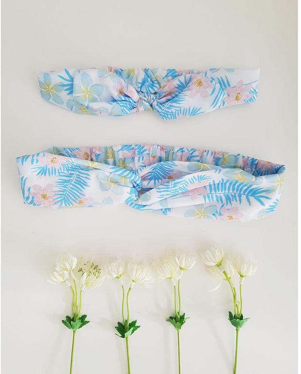MATCHING Mums and Girls Blue Floral Stretch Headband