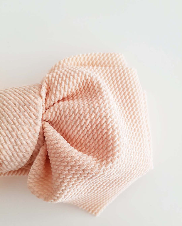 Girls Light Beige Oversized Bow Headband (Stretched Headwrap) (NB-4 Yrs)