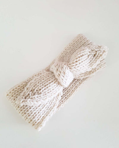 Girls Hand Knitted Beige Topknot Bow Headwrap (NB-4 Yrs)
