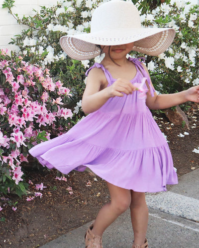 Girls Bella Dusty Lilac Muslin Tiered Tie Shoulder Dress