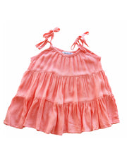 Girls Bella Peachy Pink Muslin Tiered Tie Shoulder Dress