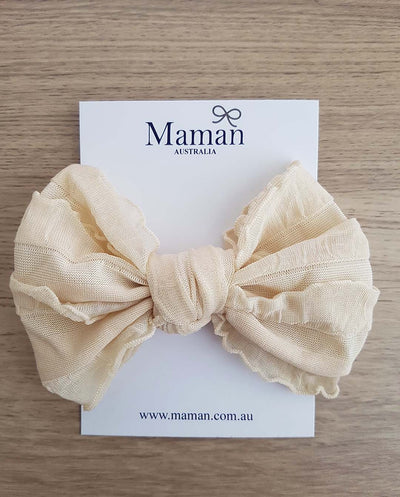 Girls Soft Nylon Biscuit Bow Headband (Newborn-4 Yrs)