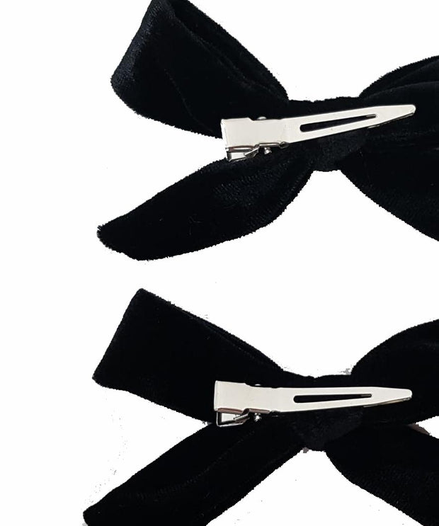 Girls Set of 2 Black Velvet Hair Clips