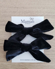 Set of 2 Handmade Black Velvet Girl Hair Clips
