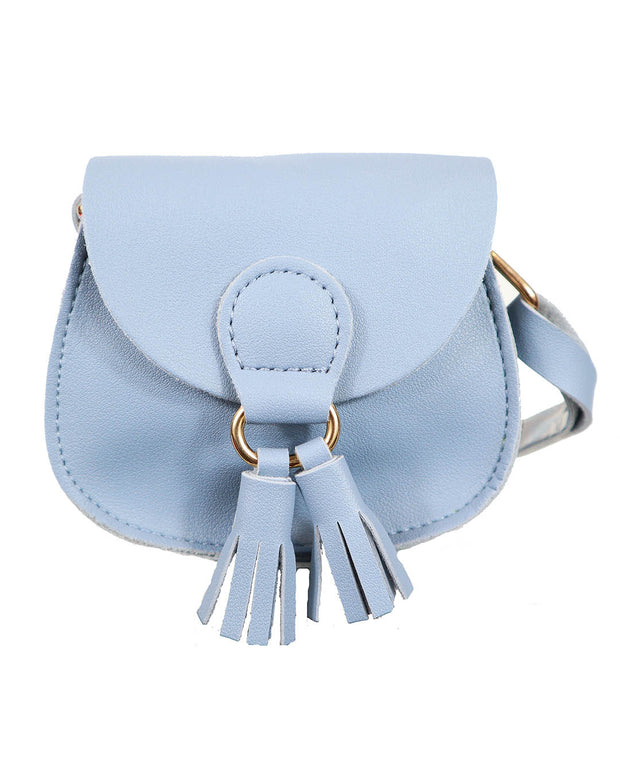 Girls Mini Marcie Blue Tassel PU Leather Cross Body and Shoulder Bag