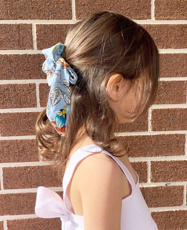 Girls Light Blue Chiffon Floral Print Hair Tie/Bow Scrunchie