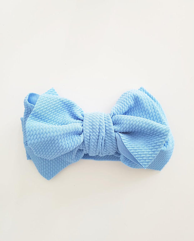 Girls Blue Oversized Bow Headband (Stretched Headwrap) (NB-4Yrs)