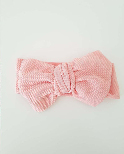Girls Blush Pink Oversized Bow Headband (Stretched Headwrap) (NB-4 Yrs)