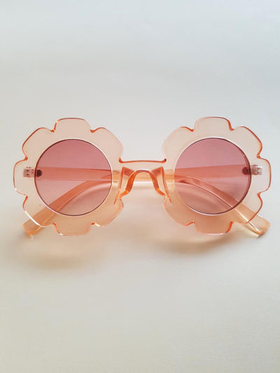 The Eyes of Bowie : Clear Peach Flower Frame Brown Gradient Lens Sunglasses (1-8Yrs)