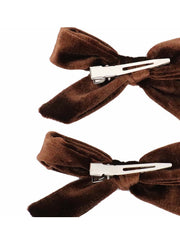 Girls Set of 2 Coffee Velvet Hair Clips
