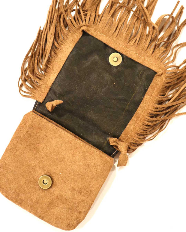 Girls Mini Bohemian Brown Tassel Suede Cross Body and Shoulder Bag