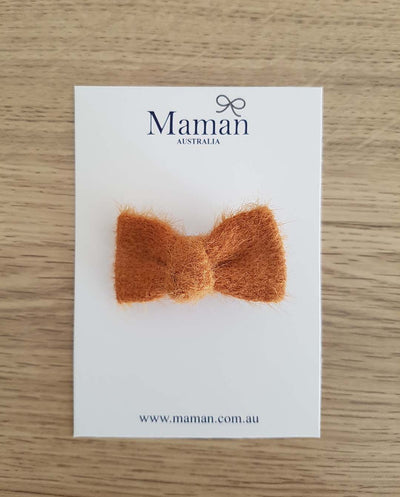Brown Fur Mini Bow Girl Hair Clip