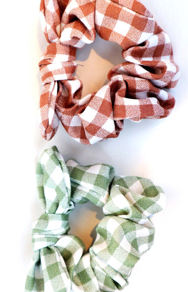 Set of 2 Jade and Coffee Gingham Hair Ties Scrunchies