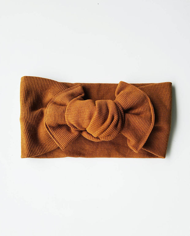 Girls Chestnut Soft Rib Knit Topknot Headband (Stretched Headwrap) (NB-5 Yrs)