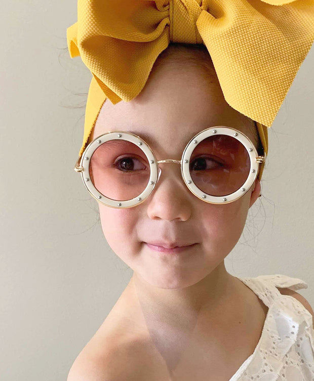 The Eyes of Claire : Studded Pattern Cream Frame Gradient Lens Sunglasses (1-8Yrs)