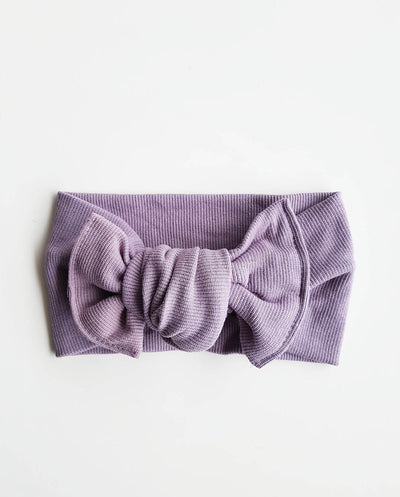 Girls Dusty Lilac Soft Rib Knit Topknot Headband (Stretched Headwrap) (NB-5 Yrs)
