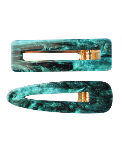 Girls Emerald Green Colored Resin Hair Clip Set 2 Pcs (Birthstone of May Emerald)