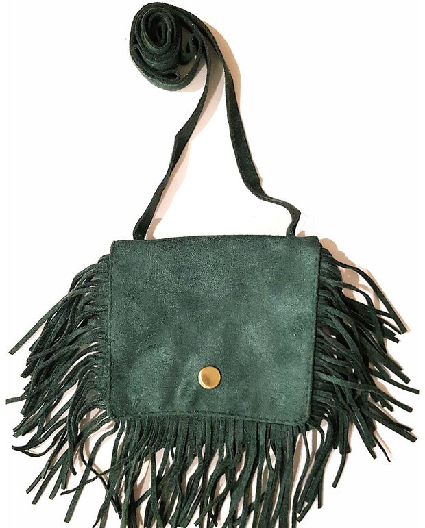 Girls Mini Bohemian Forest Green Tassel Suede Cross Body and Shoulder Bag