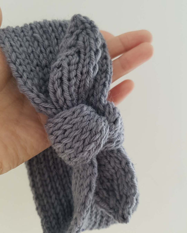 Girls Hand Knitted Grey Topknot Bow Headwrap (NB-4 Yrs)