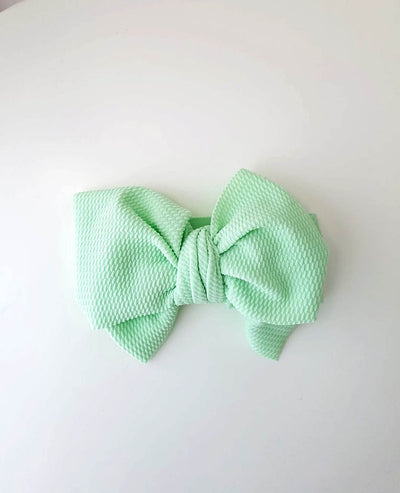 Girls Mint Green Oversized Bow Headband (Stretched Headwrap)