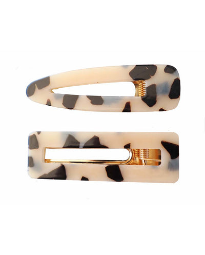 Girls Leopard Printed Resin Hair Clip Set 2 Pcs